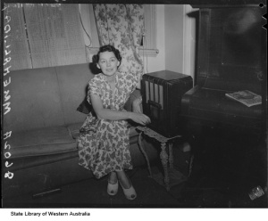 Mrs E. Halliday and her wireless, 1950
