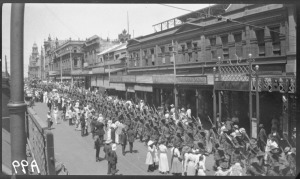 28th Battalion parades along Barrack Street