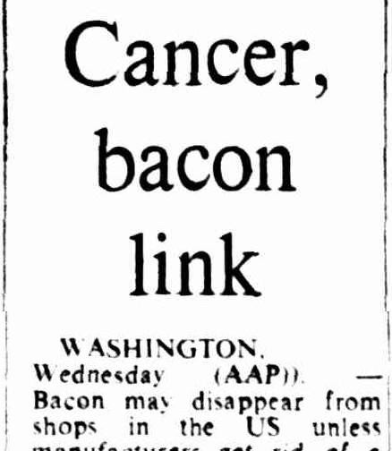 In 1975 bacon caused cancer